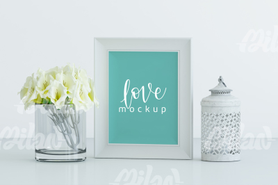 Frame MockUp - Floral Mockup, Wedding Mock up - White Vertical - Styled Stock Photography -07