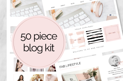 50 Piece Blog Kit Marble & Rose Gold