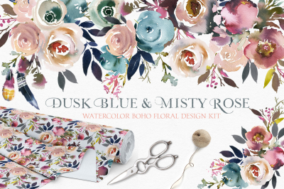 Dusk Blue & Misty Rose Boho Flowers Floral Clip Art