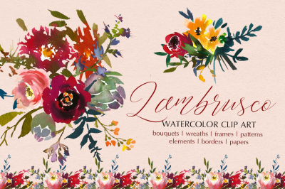 Bordo Yellow Watercolor Floral Clipart PNG Elements with Transparent Background