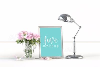 Frame, flower, light fixture,  MockUp - Floral Mockup, Wedding Mock up - White Vertical - Styled Stock Photography -08