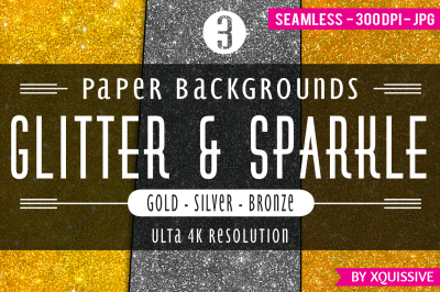 Glitter & Sparkle Paper Backgrounds - Gold / Silver / Bronze bundle