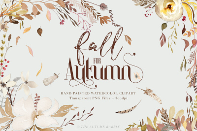 Fall for Autumn Watercolor clipart Set