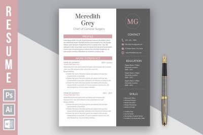 Resume template 'Meredith Grey'