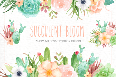 Succulent Bloom Watercolor Cliparts