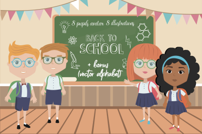 Back to school illustrations with pupils in classroom
