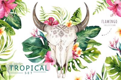 Tropical boho skulls & bouquets