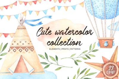 Cute watercolor collection. Children clipart