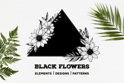 Black flowers. Part II. Floral clipart