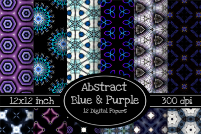 Abstract Blue & Purple 12x12 Digital Paper Pack One