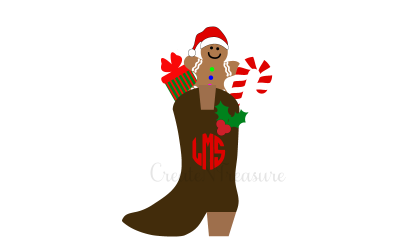 Christmas Cowboy boot svg, Christmas Monogram svg, Monogram frame svg, dxf. Cutting file for Silhouette or Cricut SVG, PNG, DXF.