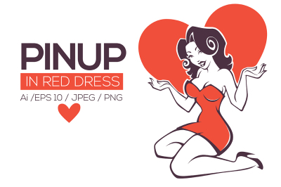 pinup lady in red dress