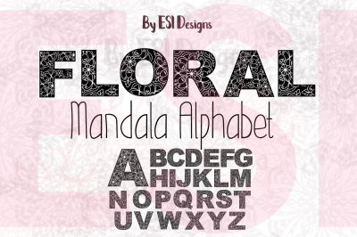 Floral Mandala Alphabet - A-Z - Vector Design.