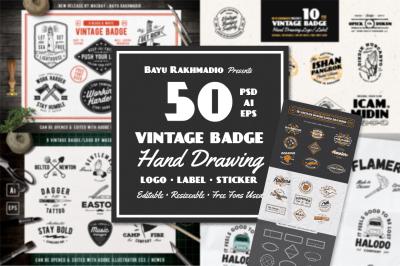 50 Vintage Badges & Labels Set
