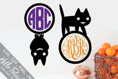 Bat Cat Halloween Monogram SVG Cutting Files