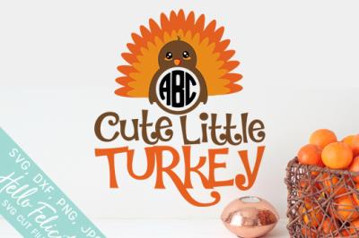 Thanksgiving Cute Little Turkey SVG Cutting Files