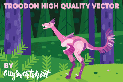 Troodon dinosaur vector illustration