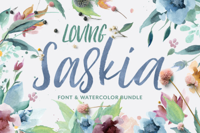 Loving Saskia Font & Watercolor Bundle