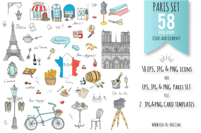 58 Paris color hand drawn icons!