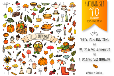 90 Autumn color hand drawn objects!