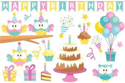 Birthday Owl Clipart and Vector Set