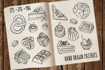 Hand drawn vector pastries