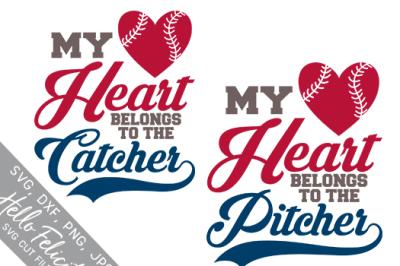 Baseball My Heart Belongs SVG Cutting Files