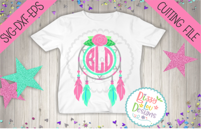 Dreamcatcher Monogram Frame SVG DXF EPS - cutting file