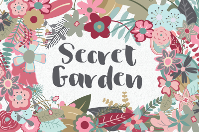 Secret Garden - 145 Flower Clip Art Elements