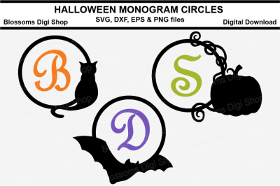 Halloween monogram circles SVG, DXF, EPS and PNG cut files