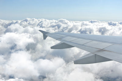 Clouds under the wing of an airplane