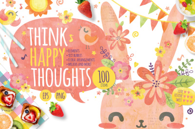 Think Happy Thoughts - Cute Bunny Graphic Set