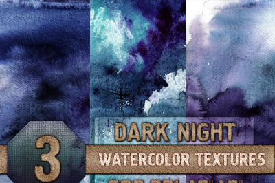 3 Dark Night Watercolor Texture Digital Papers - Blue, Purple, Teal, Digital Download, 300 dpi 12x16 inches