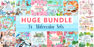 HUGE Watercolor Bundle 14 Watercolor Sets For Commercial and Personal Use