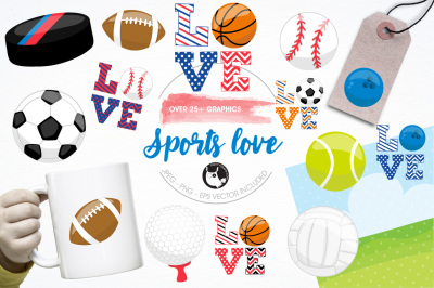 Sports love illustrations and graphics