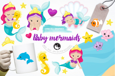 Baby mermaids illustrations and graphics