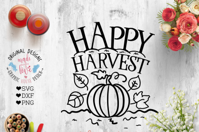 Happy Harvest Cut File SVG, DXF, PNG