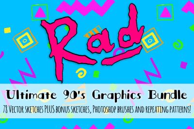 Rad 90's Vector Sketch + Pattern Kit