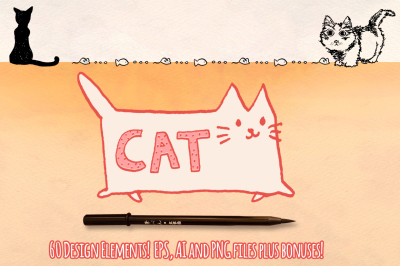 60+ Cat Vector Graphics Bundle