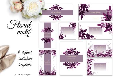 Floral Motif - 9 card templates