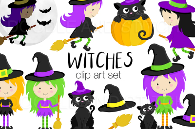 Witches and Cats Halloween Clipart Set