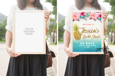 wood frame mock up, Plain interior photo mockup frame mockup, 10x14 mock up frame, Girl Holding Poster Mockup, Product Mockup, Styled Stock