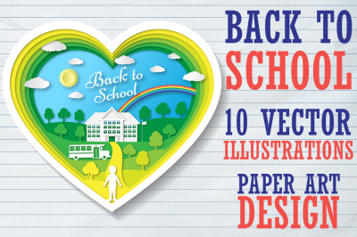 10 Back to school illustrations and banners. Paper art design