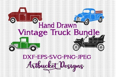 Hand Drawn Vintage Truck Bundle