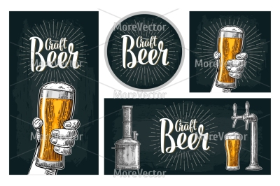 Set horizontal, vertical posters and coaster. Craft Beer lettering with rays.