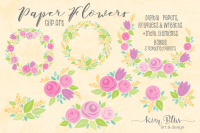 Paper Flowers Clip Art & Digital Papers