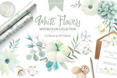 Watercolor White Flowers Set