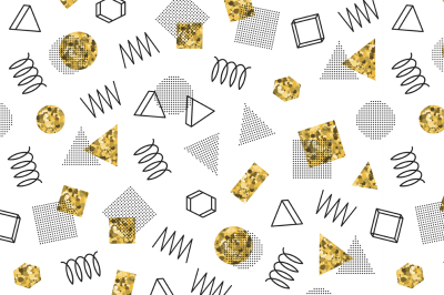 Memphis Gold Geometric Pattern