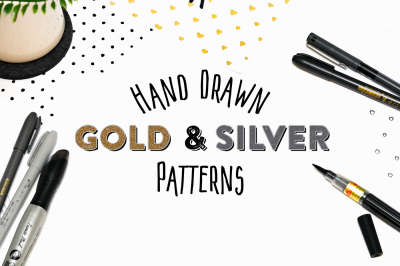 15 Hand Drawn Gold & Silver Patterns