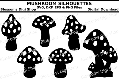 Mushroom silhouettes, SVG, DXF, EPS and PNG cut files